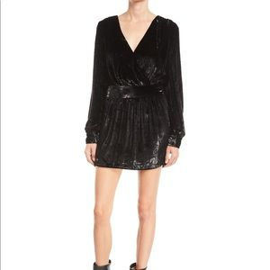 Frame Black Metallic Velvet Cocktail Dress Size 8